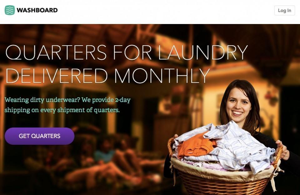 Site da Washboard, provavelmente a startup mais inútil do mundo.