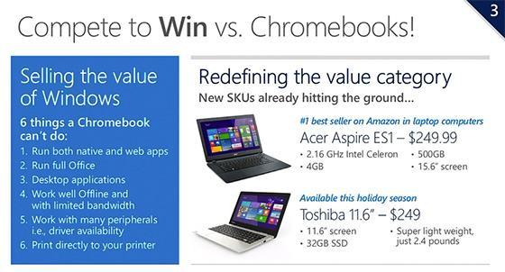Slide anti-Chromebooks da Microsoft na WPC.