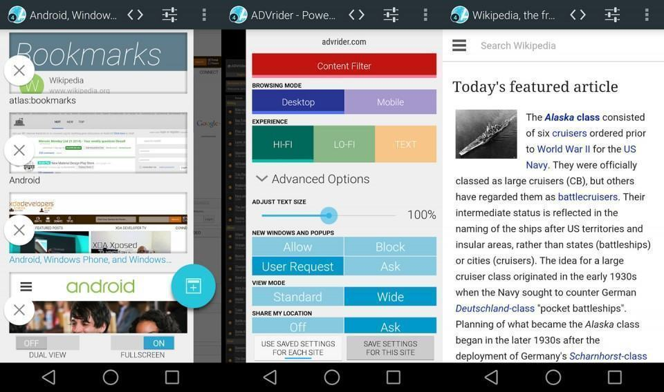 Screenshots do Atlas Web Browser para Android.