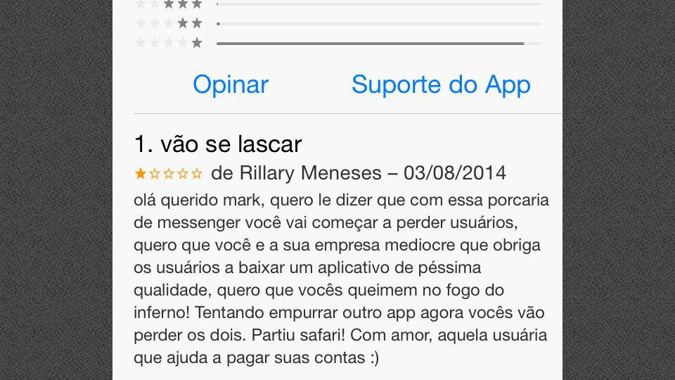 A Rillary não gostou do Facebook Messenger.