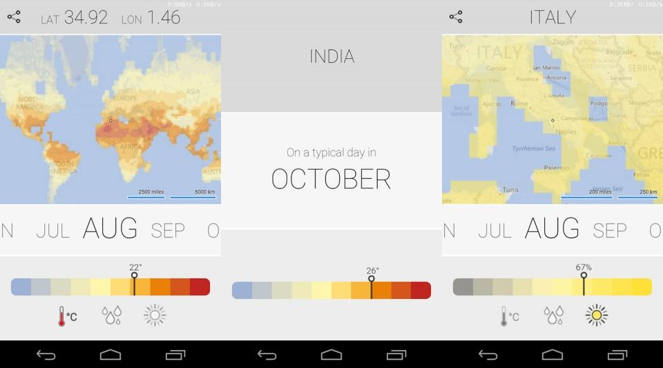 Screenshots do Climatology para Android.