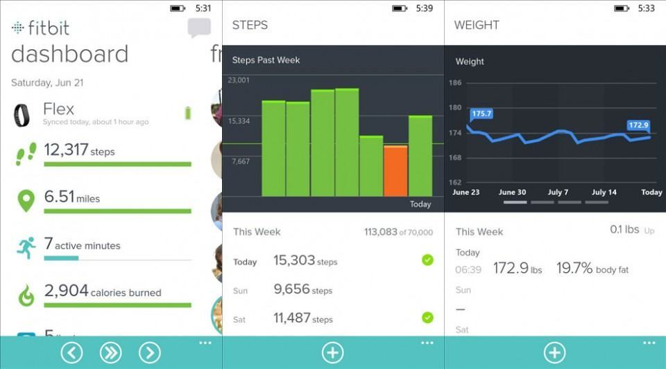 Screenshots do Fitbit para Windows Phone.