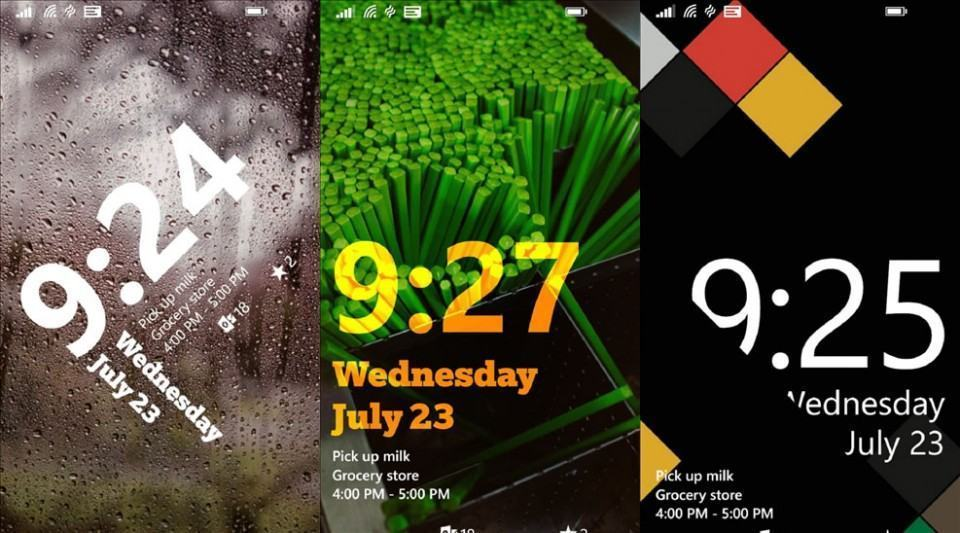 Screenshots do Live Lock Screen para Windows Phone.