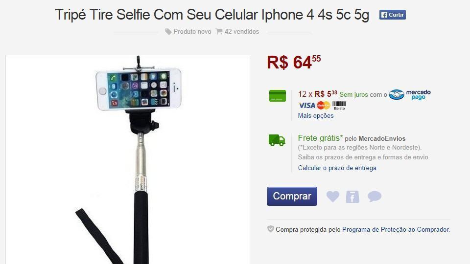 Anúncio do bastão de selfie.