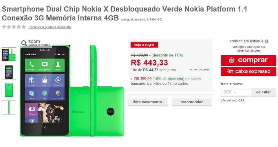 Nokia X vendido no Brasil.