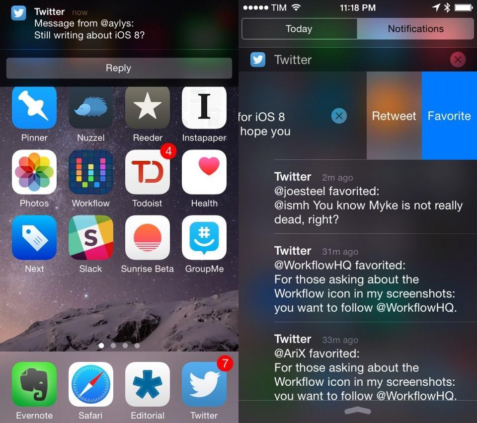 Notificações do Twitter adaptadas ao iOS 8.