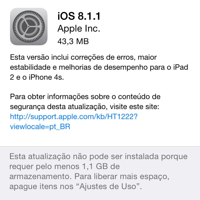 Notas da versão 8.1.1 do iOS.