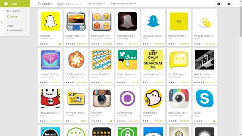 Ainda há muitos apps relacionados ao Snapchat à solta.