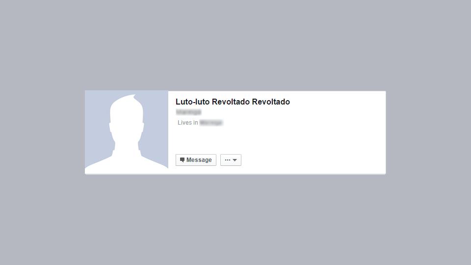 Exemplo de revolta usando o próprio nome no Facebook.