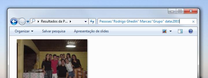 Filtro de fotos via Windows Explorer.