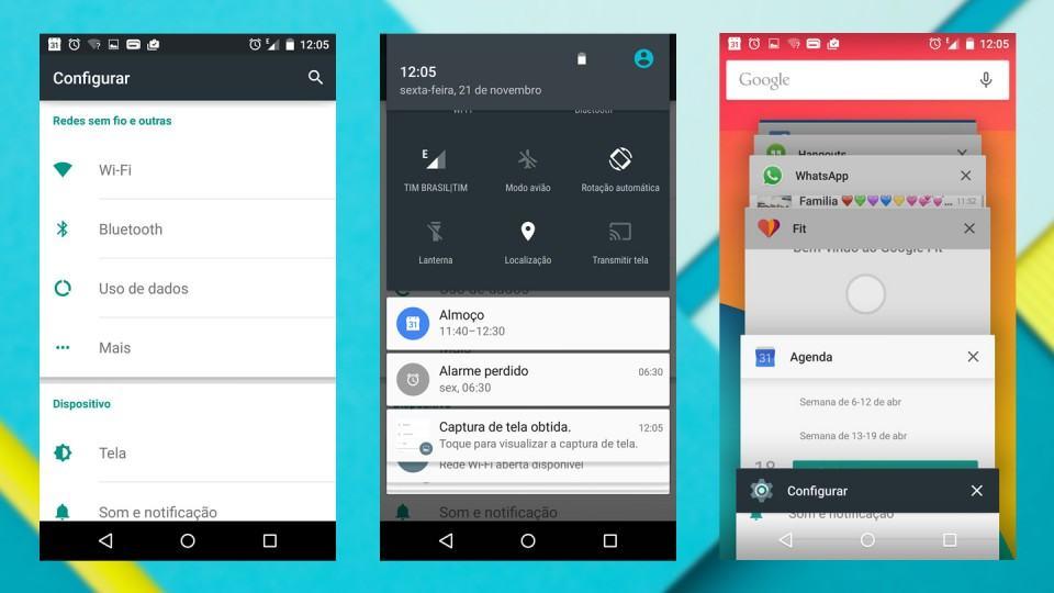 Telas diversas do Android 5.0.