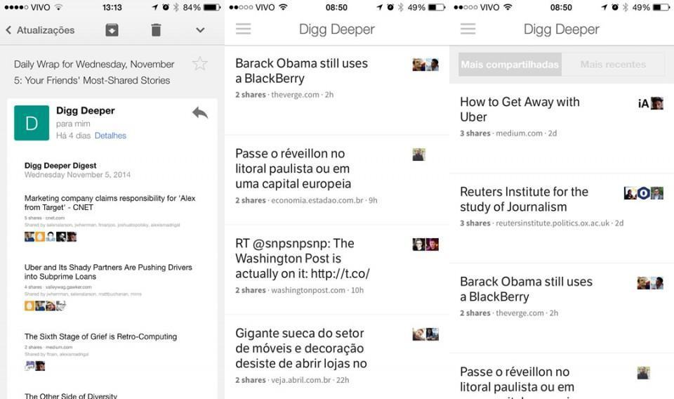Digg Deeper no e-mail e no app.