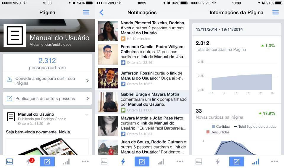 Gerencie suas páginas no Facebook pelo smartphone.