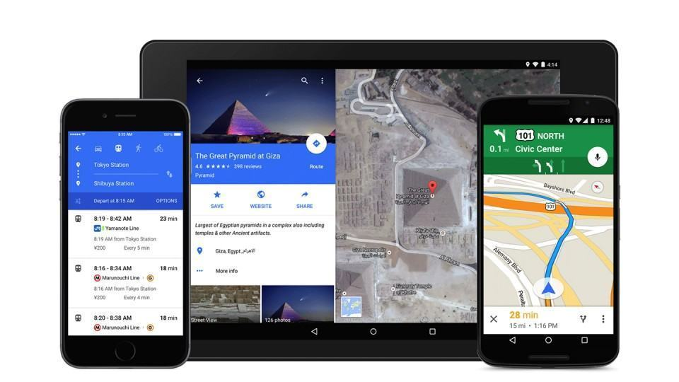 O novo visual do Google Maps em diferentes plataformas.
