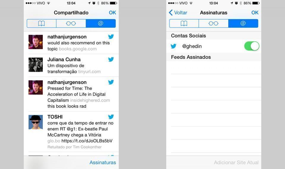 Extração de links do Twitter no Safari.