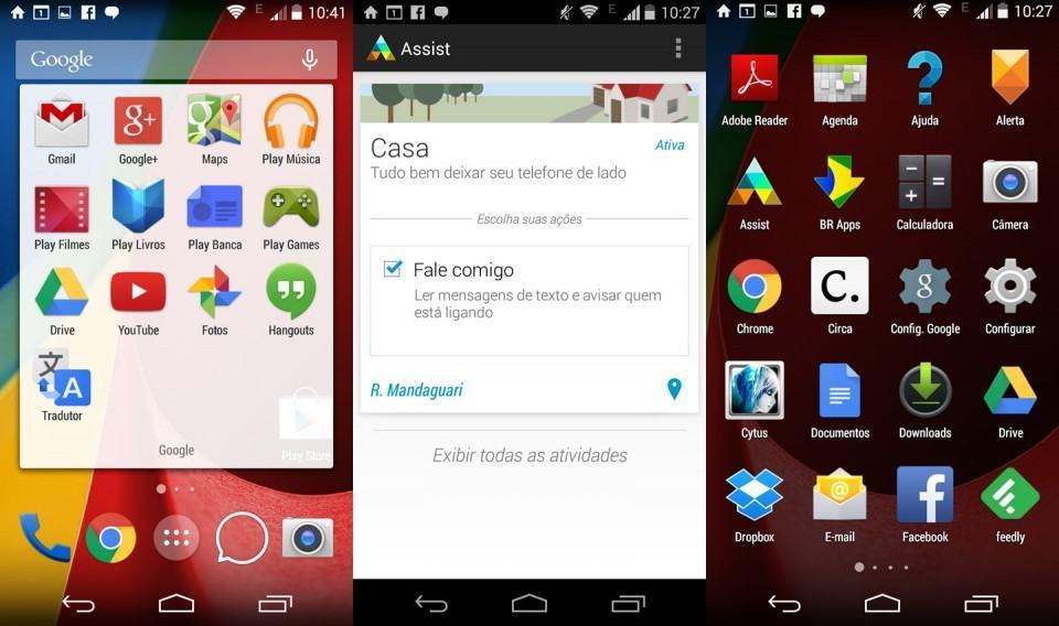 O Moto G usa o Android mais atual.