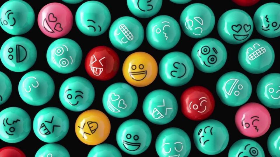 Ilustração: emoticons em bolas