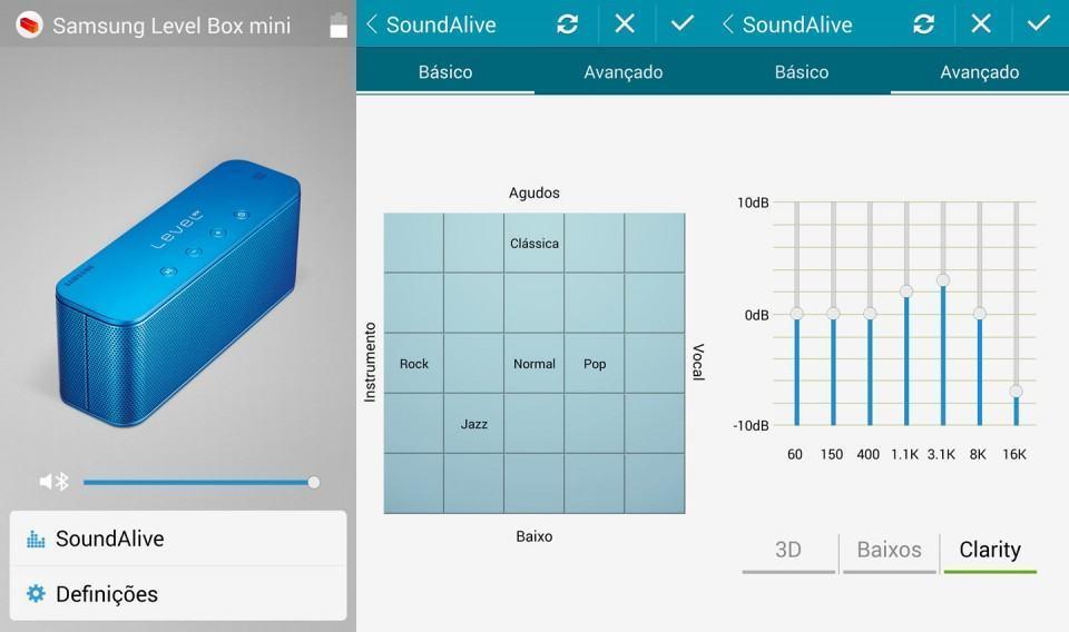 O app da Samsung para Android permite ajustes finos na Level Box Mini.
