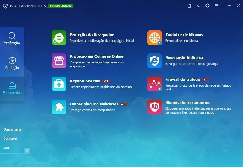 Os módulos, ou ferramentas, do Baidu Antivirus.