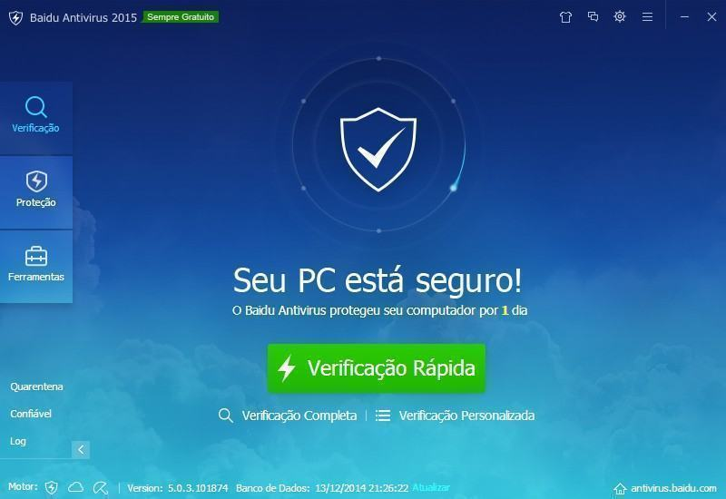 Tela inicial do Baidu Antivirus 2015.