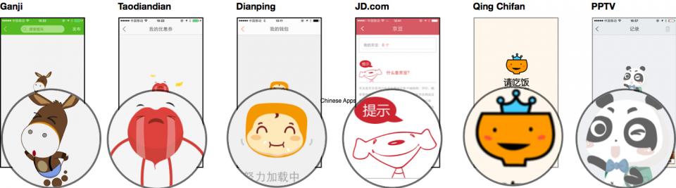Alguns mascotes de apps chineses.