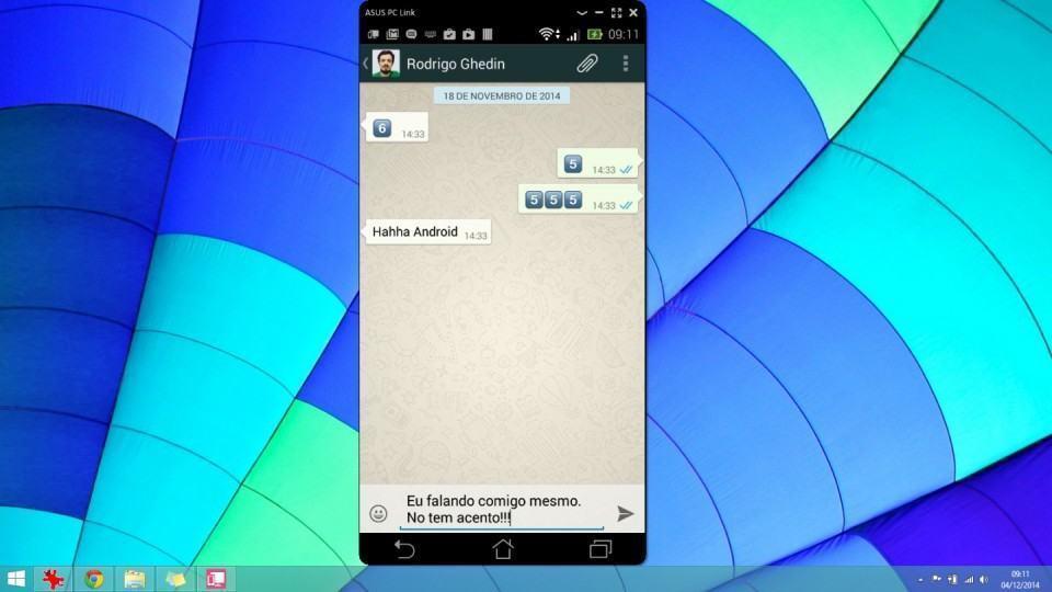 Zenfone 6 conectado ao computador via PC Link.
