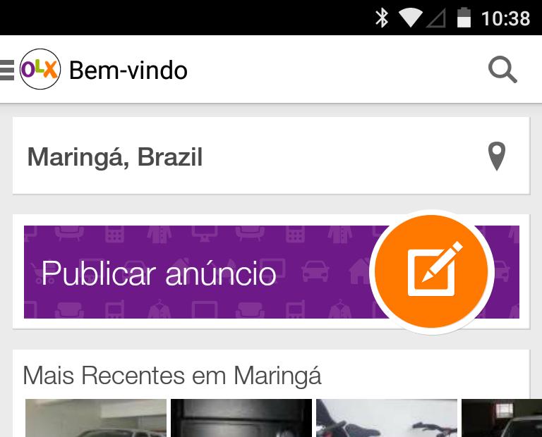 Tela inicial do app da OLX para Android.