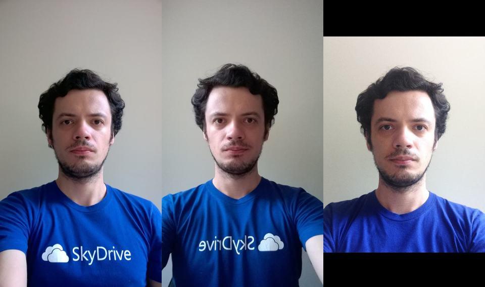 Três selfies com três câmeras diferentes.