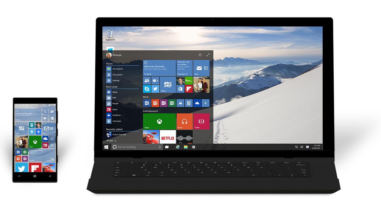 Um smartphone e um notebook rodando o mesmo sistema windows 10