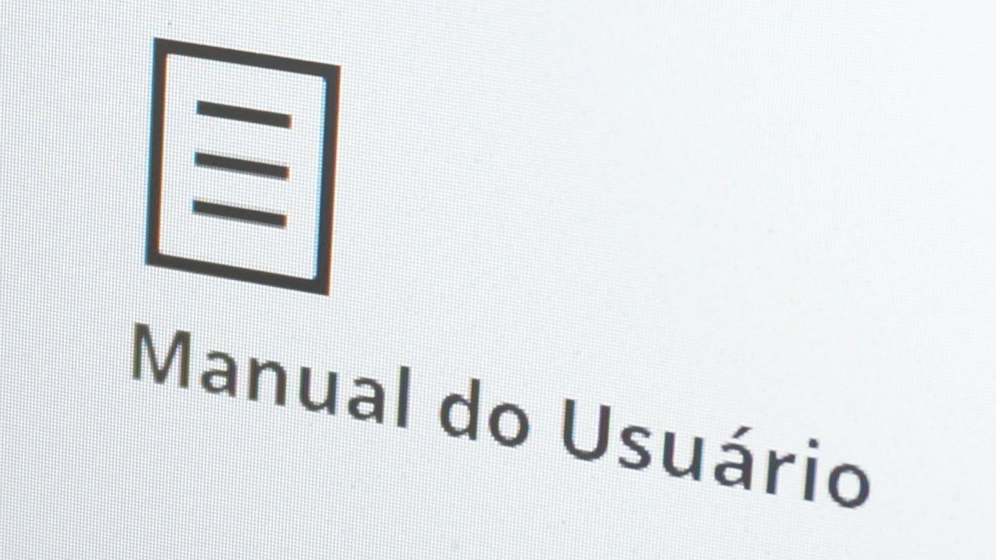 Logo do Manual do Usuário de pertinho numa tela não tão Retina...