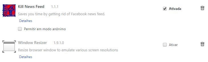 Uma extensão ativada, outra não, ambas instaladas no Chrome.