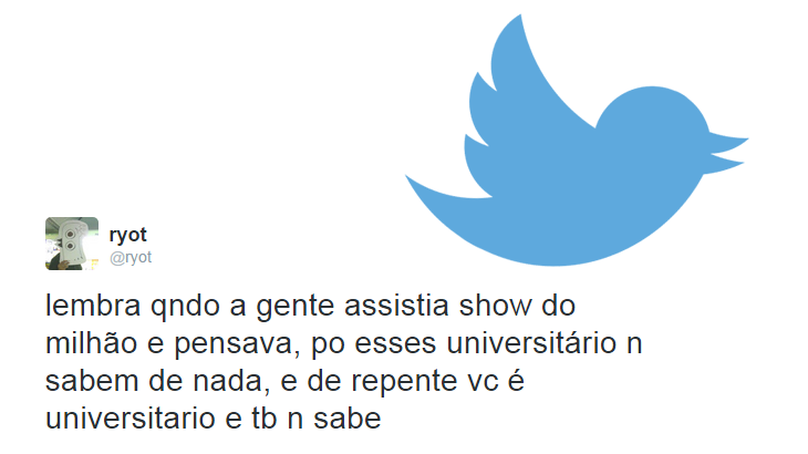 Tweet sobre os universitários do Show do Milhão e logo do Twitter.