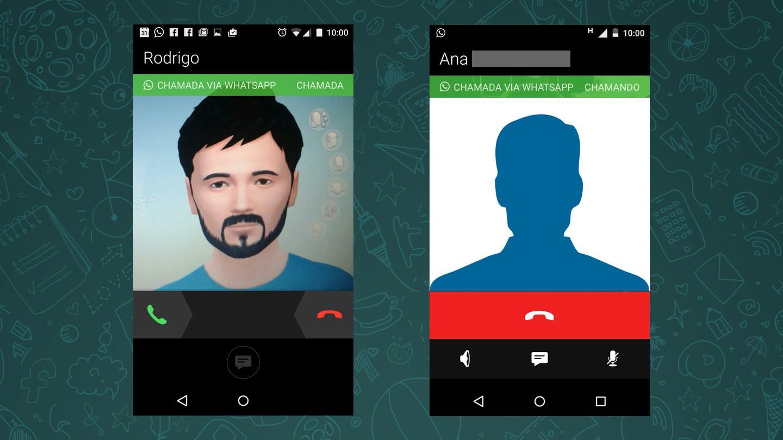Telas de ligação via WhatsApp.