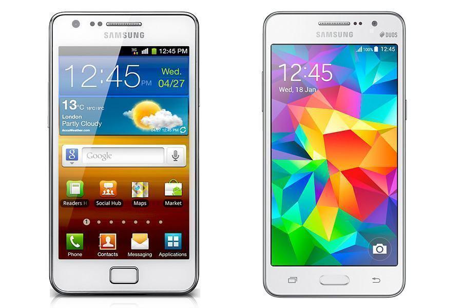 Galaxy S II e Galaxy Gran Prime, lado a lado.