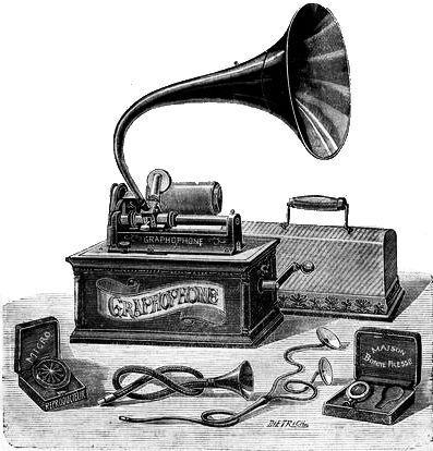Ilustração de um grafofone de 1901.