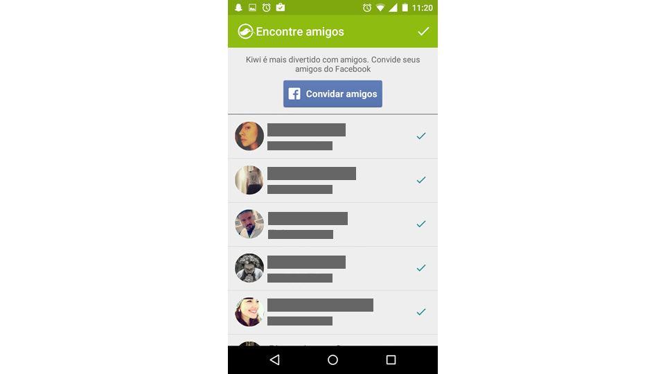 Primeira tela de convites do Facebook no app Kiwi.