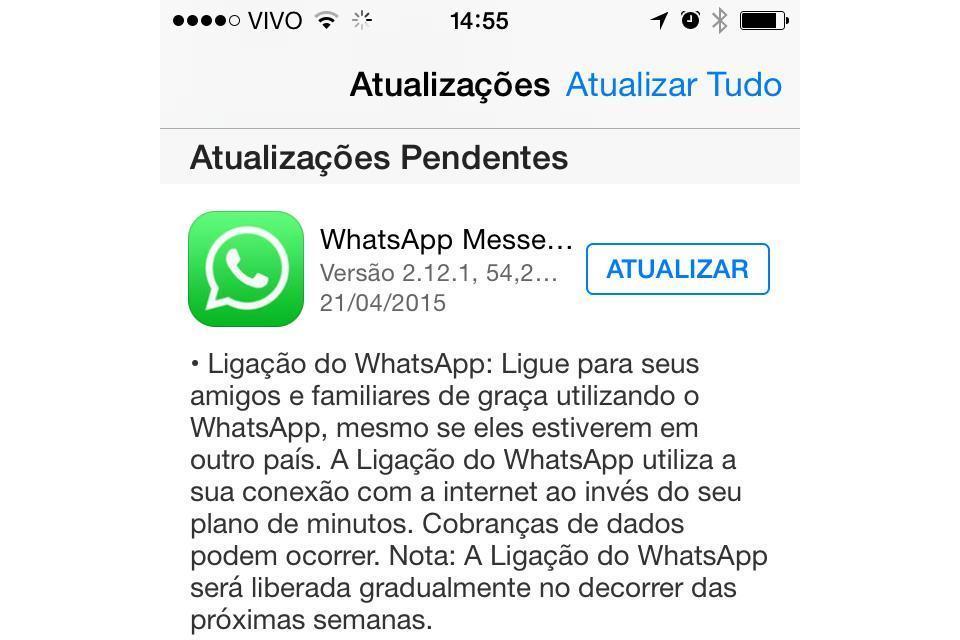Print da App Store com atualização do WhatsApp 2.12.1.