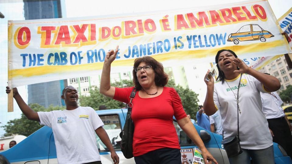 Protesto contra Uber no Rio.