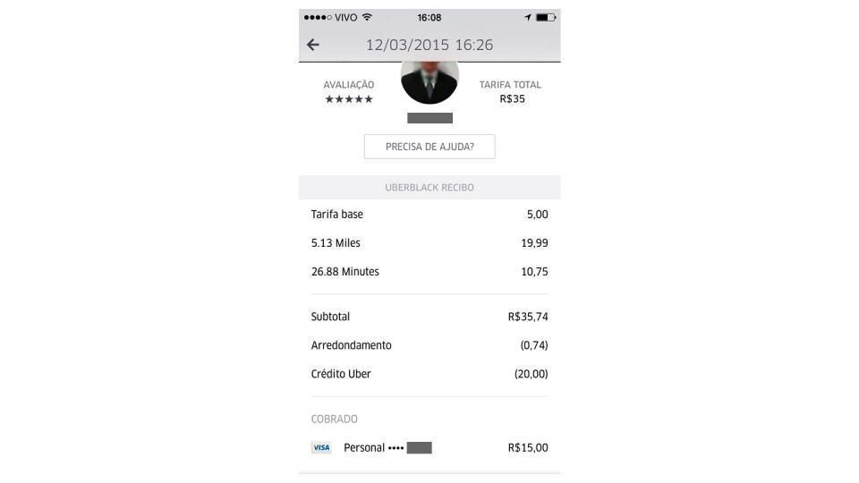 Print com os detalhes da minha corrida com o Uber.