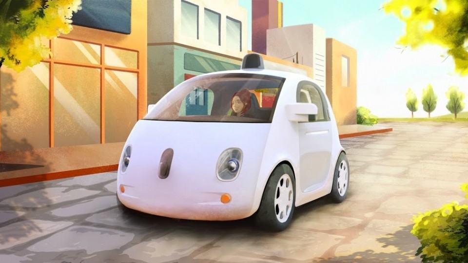 Ilustração do carro autônomo do Google.