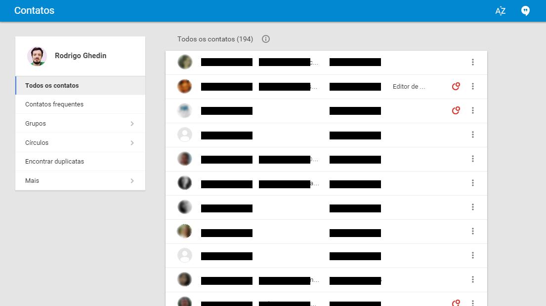 Interface web de contatos do Google.