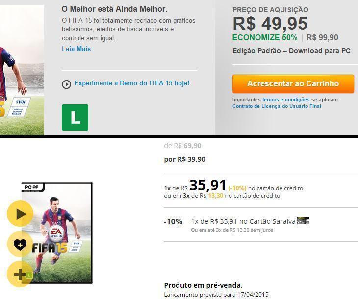 Comparativo de preços do FIFA 15 na Origin e Saraiva.