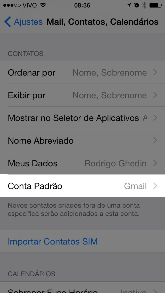 Tela de contatos nas configurações do iPhone.
