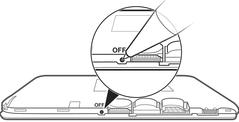 Ilustração indicando botão oculto do Xperia E4.