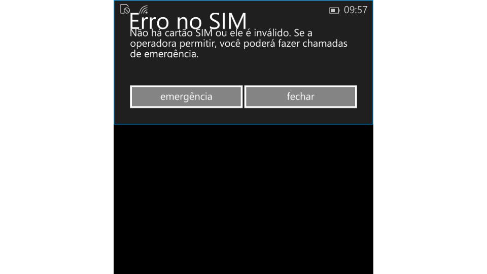 Mensagem de erro no SIM card do Windows 10.