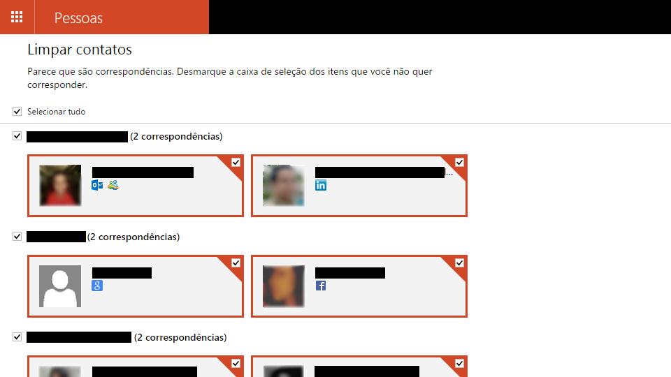Ferramenta para mesclar contatos duplicados no Outlook.com.