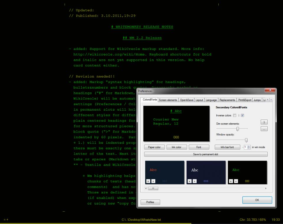 Screenshot do WriteMonkey.