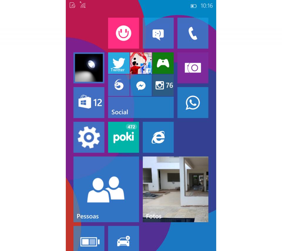 Tela inicial do Windows 10 com imagem de fundo.