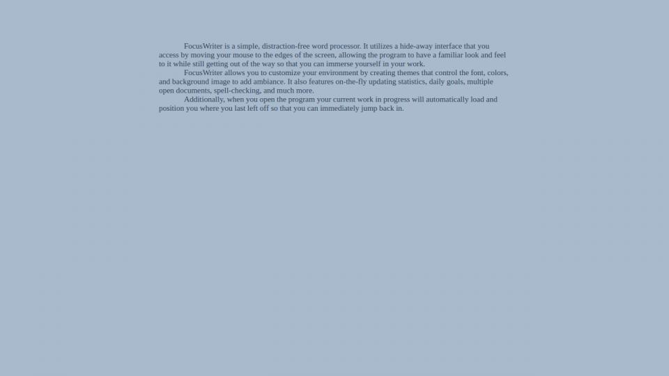 Screenshot do FocusWriter.