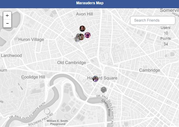 Mapa do Maroto no bate-papo do Facebook.